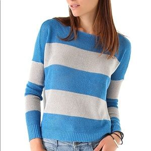 Theory blue & gray striped linen sweater